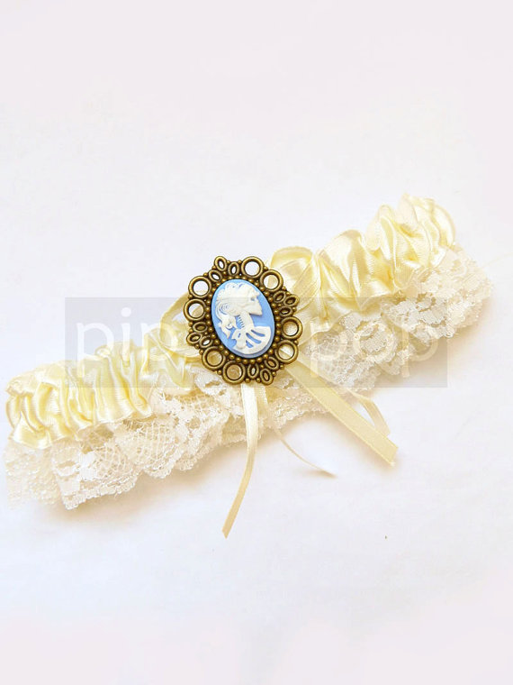 Hochzeit - IVORY Garter - Gothic Death Maiden design with Baby blue skull Cameo - for the vampyress in you  - Neo Victorian Gothic accessories