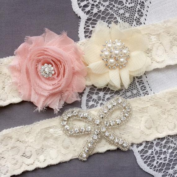 Свадьба - Wedding Garter Bridal Garter Peach Pink Garter Set Lace Garter Set Ribbon Bow Rhinestone Crystal Pearl Garter Princess GR177LX