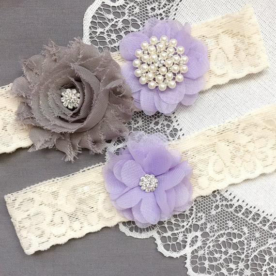 Свадьба - Wedding Garter Belt Set Bridal Garter Set Ivory Lace Garter Lavender Purple Garter Set Rhinestone Crystal Pearl Garter GR186LX