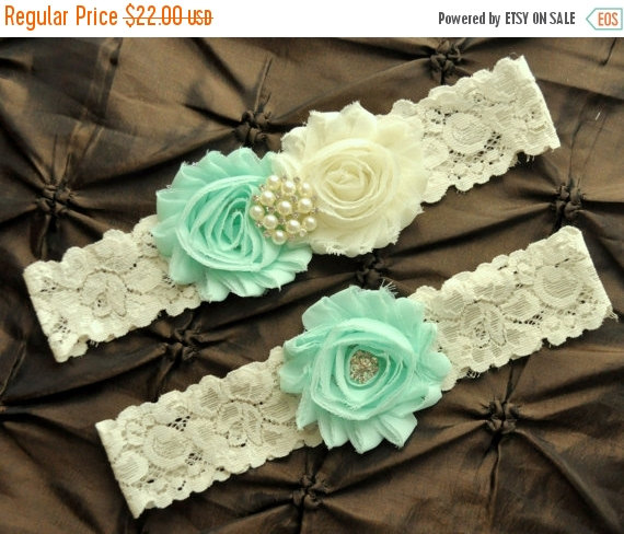 Свадьба - ON SALE Wedding Garter, Bridal Garter Set - Ivory Lace Garter, Ivory Wedding Garter Belt, Mint Wedding Garter, Mint Bridal Garter, Mint Gart