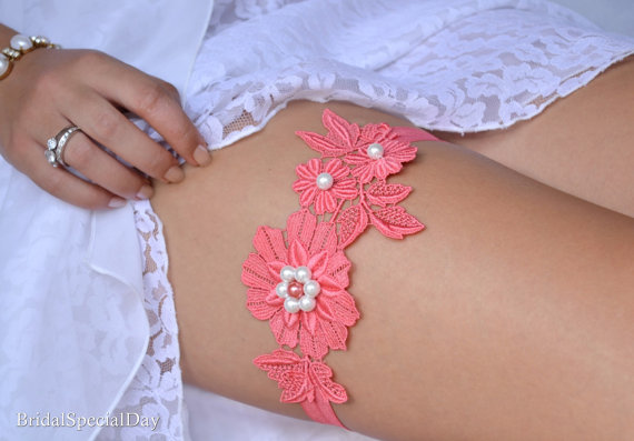 Hochzeit - Coral Lace Wedding Garter Set Coral Bridal Garter With White and Coral Pearls - Handmade Wedding Garter Set