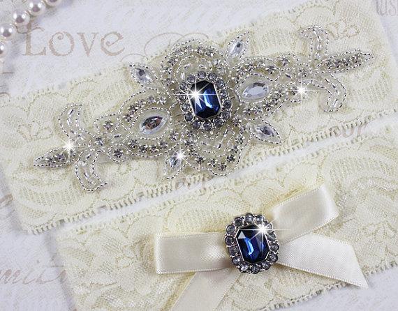 Hochzeit - SALE - MADRID II - Sapphire Blue Wedding Garter Set, Ivory Lace Garter, Rhinestone Crystal Bridal Garters, Something Blue