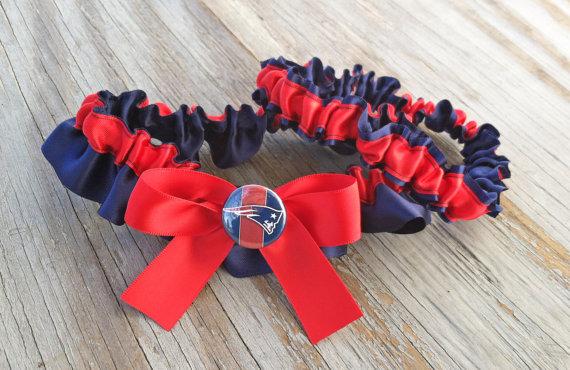 Hochzeit - New England Patriots Inspired Bridal Satin Wedding Garter Navy Blue & Red Garter Football Keepsake Or SET