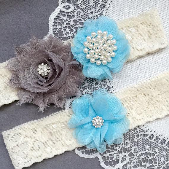 Hochzeit - Wedding Garter Belt Set Bridal Garter Set Ivory Lace Garter Belt Light Blue Garter Set Rhinestone Crystal Pearl Garter GR187LX