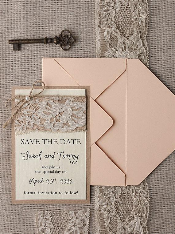 Свадьба - Save The Date Cards (20), Rustic Lace Save the Date, Peach Save the Date, Peach Save the Date, Wedding Save the Date, Model no: 17/rus/std