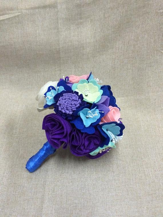 Wool Felt Flower Bouquet - Colorful Blue And Pink Nonwoven Fabric ...