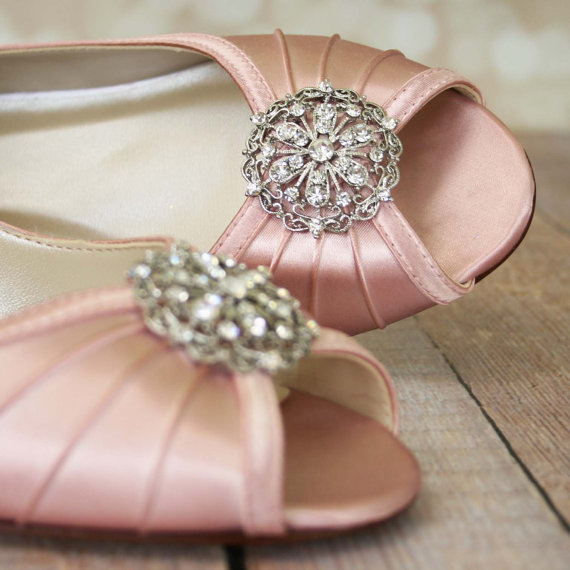 Свадьба - Wedding Shoes Pink / Wedge Bridal Shoes / Light Pink Shoes / Vintage Wedding / Pink Wedding / Antique Bridal
