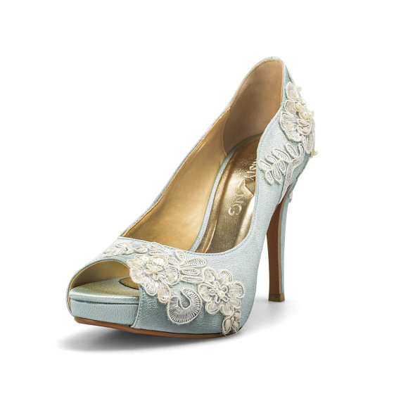 Something Blue Wedding Shoes With Lace, Powder Blue Bridal Shoes ...