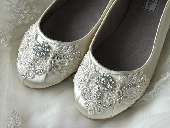 Wedding - Womens Wedding Shoes Lace Wedding Ballet Flats Accessories Lace Bridal Shoes Vintage Lace Womens Embellished Bridal Flat Shoes Wedding Shoes