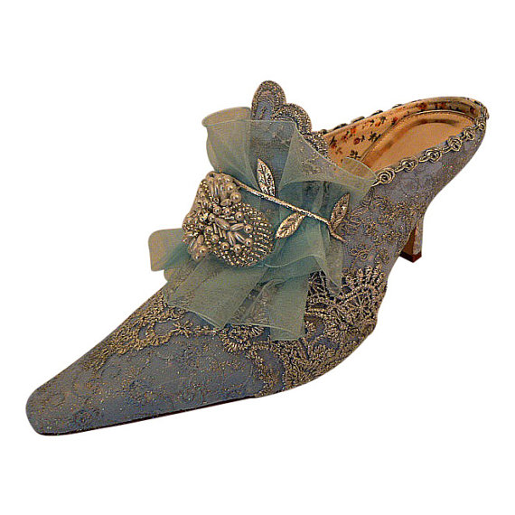 Marie Antoinette Wedding Shoes Something Blue Bridal Silver Lace Vintage Low Heel Free Us Postage