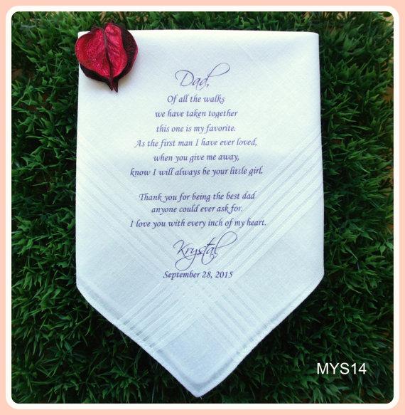 Свадьба - Father of the Bride Hankerchief-Wedding Handkerchief-PRINTED-CUSTOMIZED-Wedding Favors-Father in Law-Wedding Gift-Father of the Bride Gift