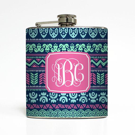Custom Flask Personalized Tribal Aztec Vine Fancy Monogram