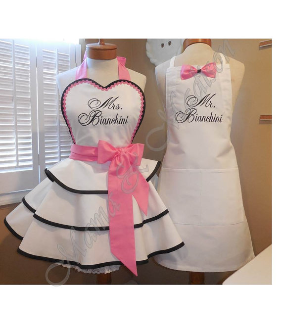 mr and mrs custom bridal aprons accented in sweet pinkperfect bridal shower gift
