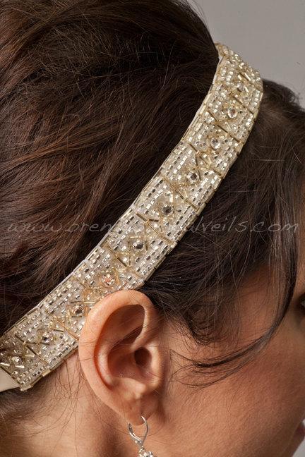 Mariage - Art Deco, Light Gold and Crystal Rhinestone Headband, Bridal Headband - Bailey