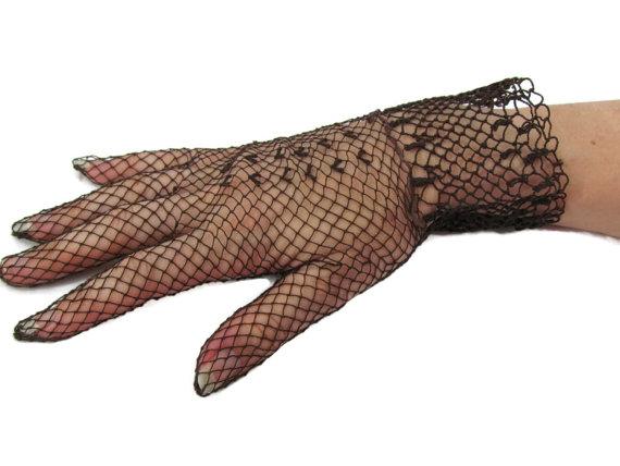 Mariage - Vintage Wedding Gloves Hand Crocheted Victorian Gloves Brown Bridal Gloves Edwardian 1920s Art Deco Gatsby Wedding