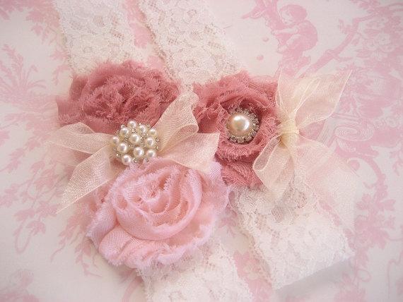 Wedding - Vintage Bridal Garter, Wedding Garter, Toss Garter  Dusty Rose, Ivory with Rhinestones and Pearls  Custom Wedding colors
