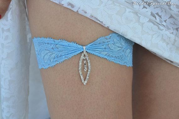 Wedding - Sky Blue Wedding Garter Set Stretch Lace Bridal Garter With Leaf Rhinestone Charm - Handmade Bridal Accessories