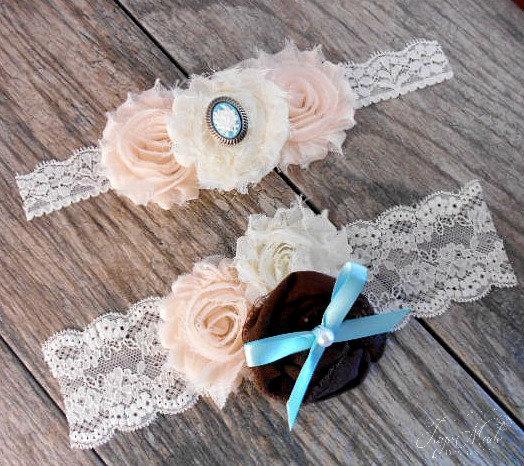 Vintage Lace Wedding Garter Set: Lace Wedding Garter Set, Toss Garter Set, Ivory Wedding
