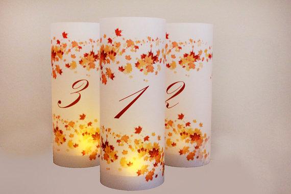 زفاف - set of 10 Fall Wedding Table numbers, fall luminaries, autumn wedding, autumn table numbers, wedding luminaries, leaf wedding decor