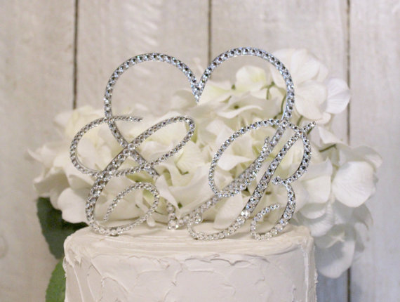Mariage - Monogram 2-Initial & Heart Wedding Cake Topper  with Swarovski Crystals, in any letter A B C D E F G H I J K L M N O P Q R S T U V W X Y Z,