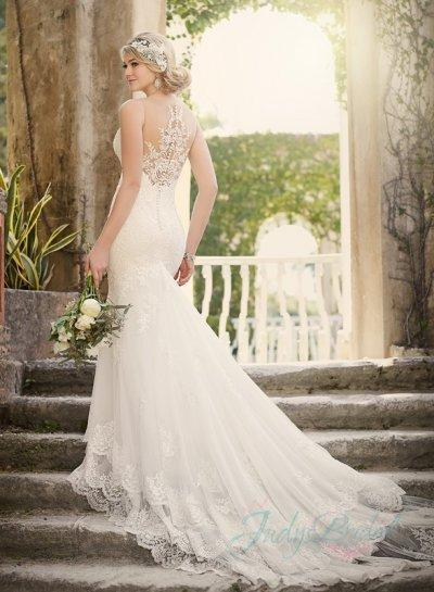 Sheer tulle top illusion lace back tiered mermaid wedding for Wedding dress with illusion top