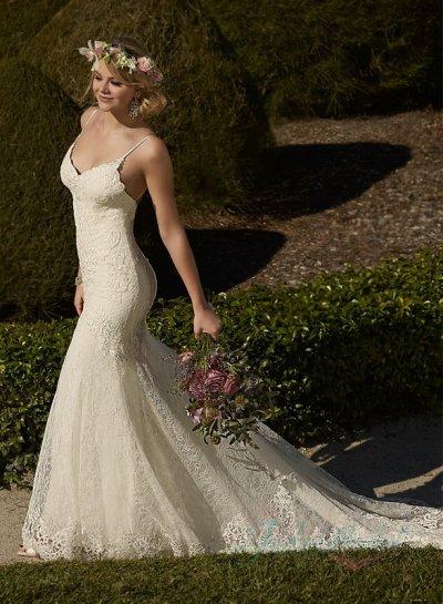 Свадьба - sexy spaghetti straps backless lace mermaid wedding dress