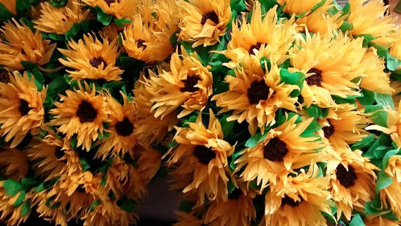 زفاف - 1.50 Each, 12 Crepe Paper Sunflowers, Mexican Flowers, Yellow, Orange, Fall, Thanksgiving, Halloween, Wedding, Reception, Poms, Paper Flower
