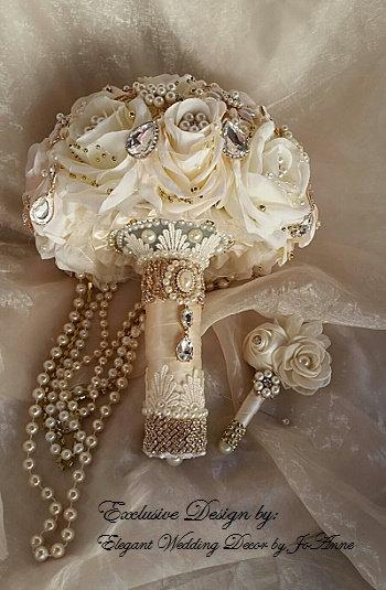 Cascading Pearl Rose Gold Brooch Bouquet Custom Blush Ivory Jeweled