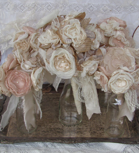 Mariage - Bridal Bouquet Package Vintage Bouquet Rustic,Bohoemian Champagne /Ivory Fabric flower bouquet, alternative fabric bouquets wedding flowers