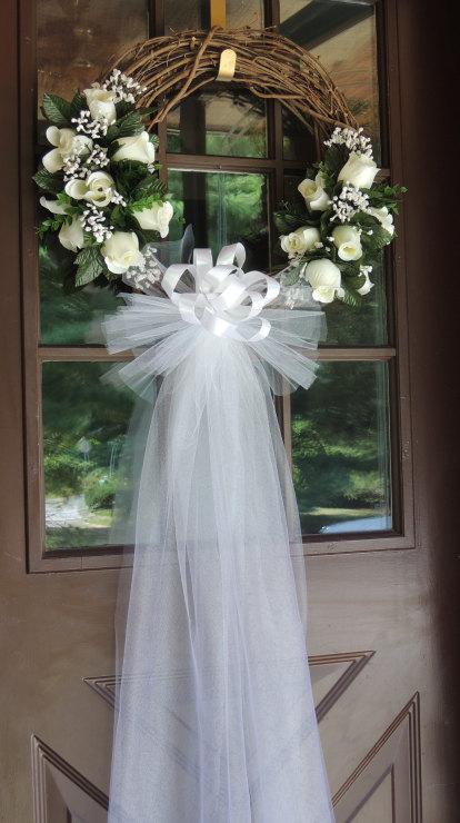 White Rose Wedding Door Wreath Grapevine Wreath 2376213: how to decorate a wreath