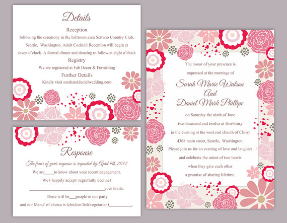 diy wedding invitations templates. diy wedding invitation template set editable word file instant download pink coral floral printable diy invitations templates