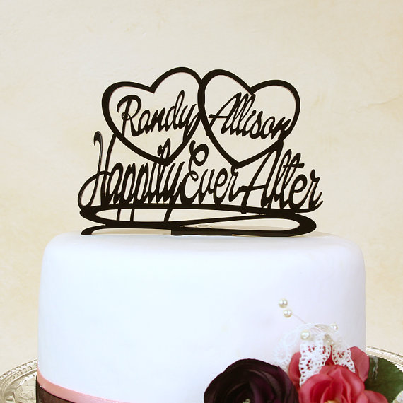 Hochzeit - Wedding cake topper, Happily Ever After, with personalized hearts,  by Distinctly Inspired (style DH-3)