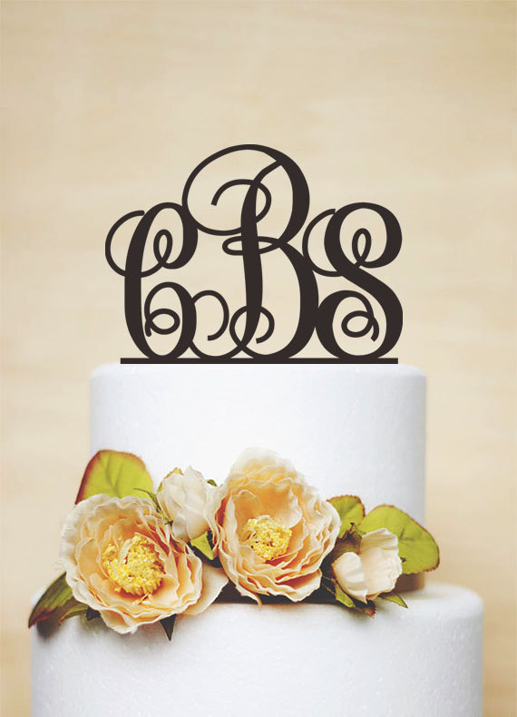 Mariage - Initial Cake Topper,Monogram Cake Topper,Wedding Cake Topper,Personalized Acrylic Cake Topper,Bridal Cake Topper,Bride and groom-I013