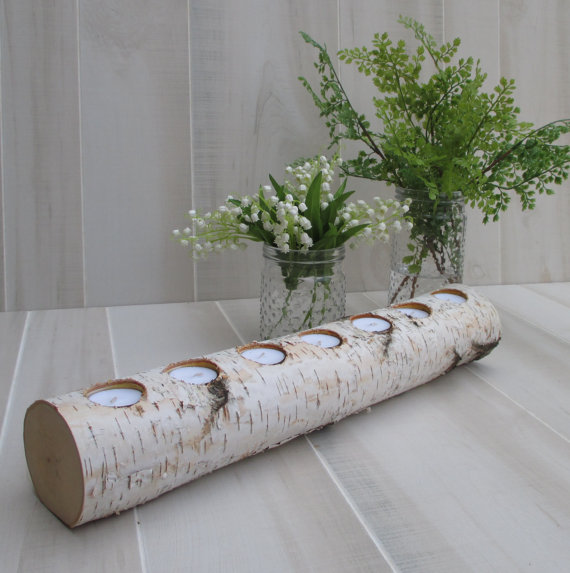Birch Log LED Tea Light Candle Holder Wedding Home Decor