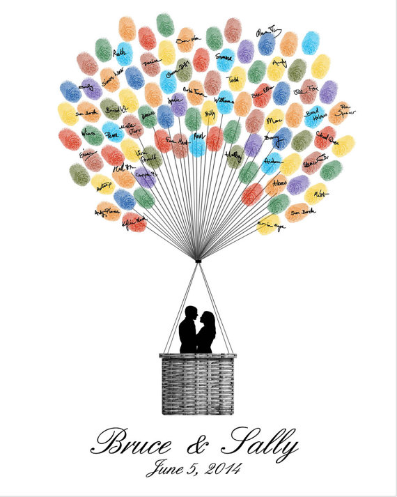 Hochzeit - Wedding Guest Book Hot Air Balloons, Printable JPEG, Digital Fingerprint Signature Thumbprint Poster - Custom color, size, text and language