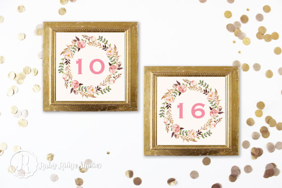 Hochzeit - Printable Table Numbers, Bohemian Blush Watercolor Floral, Pink and Gold, DIY Wedding Printable, Engagement, Floral Table Numbers
