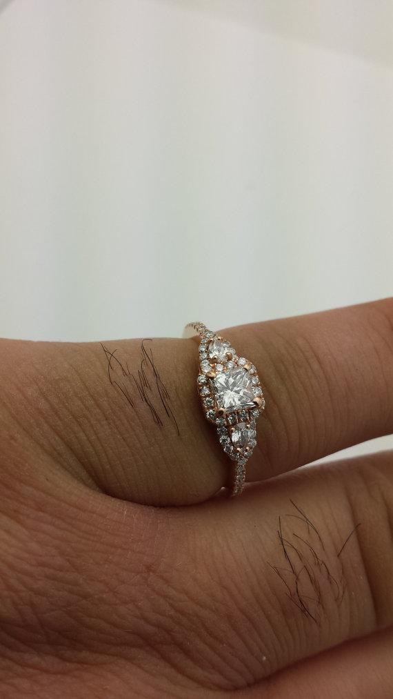 زفاف - 1.00 ctw Round & Pear Shape Diamond Pave Wedding Bridal Ring  14K Rose Gold, Center Stone 0.50ctw Princess Diamond G-SI2 Quality