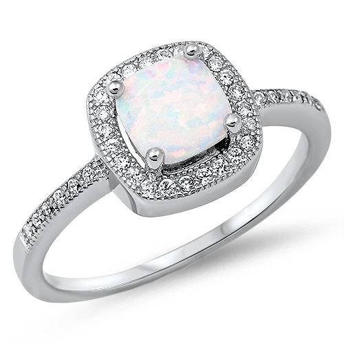زفاف - Fashion 1.42 Carat Princess Cut Square Fiery White Lab Opal 925 Sterling Silver Promise Ring Sparkly Clear Topaz Halo Diamond Accent Ring