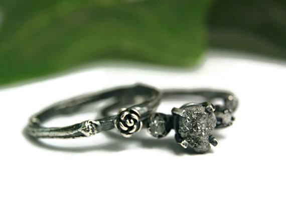 Rough Black Diamond Twig Wedding Set, Steampunk Gothic Style Jewelry ...