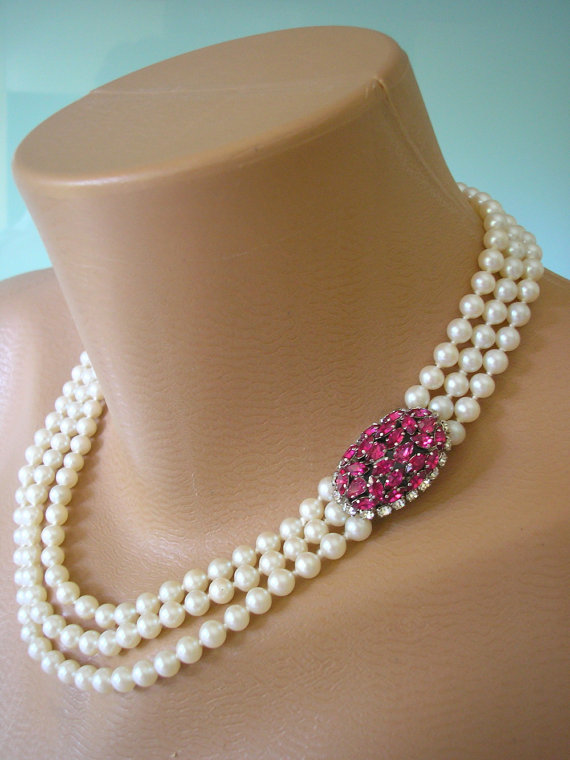 RUBY Choker Pearl Necklace Mother Of The Bride Bridal Jewelry Pink Rhinestone And Ruby Swarovski Fuschia