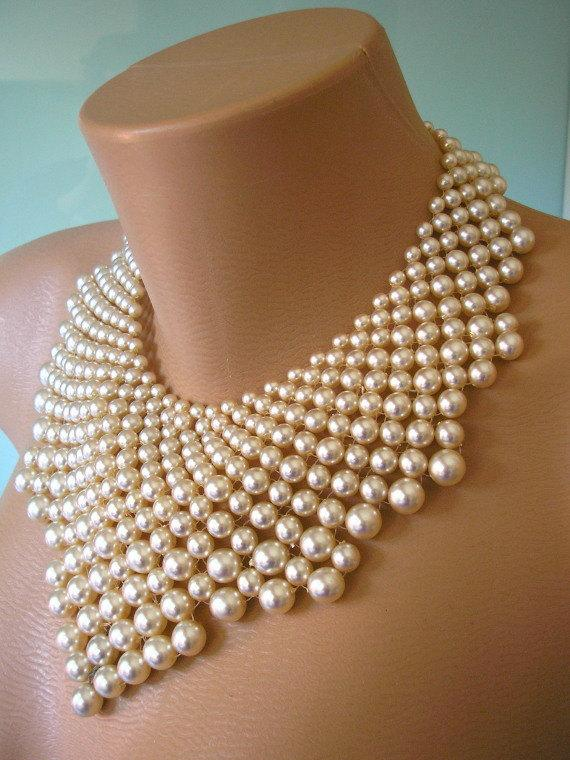 PEARL STATEMENT Necklace, The Great Gatsby, Bridal Bib ...