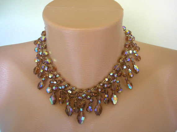 Düğün - TOPAZ Crystal Necklace, Crystal Choker, Smokey Topaz, Topaz Aurora Borealis, Waterfall, Bib, Collar, Fall Bridal Jewelry,Mother Of The Bride