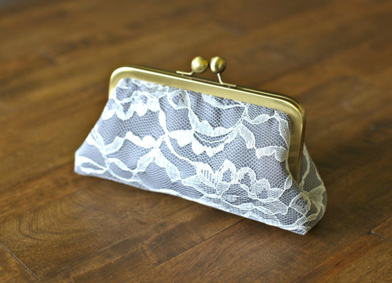 Mariage - Ivory Lace Clutches with Charcoal Gray
