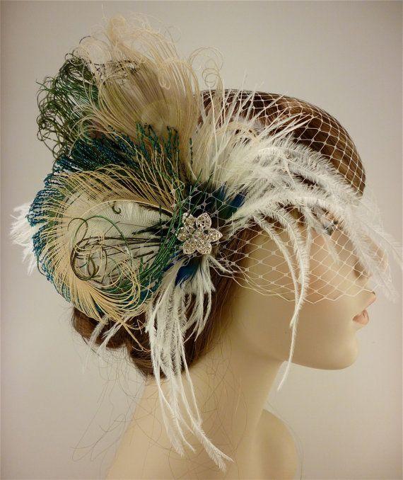 Mariage - Feather Bridal Fascinator Bridal Fascinator By IceGreenEyes