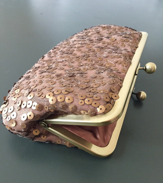 Mariage - Antique Gold and Bronze Sequin Clutch