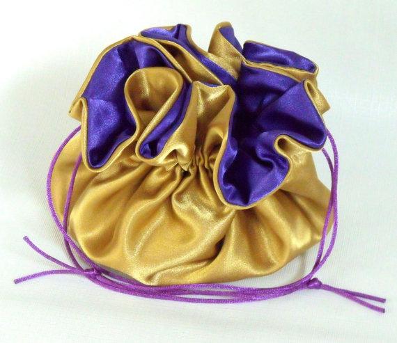 زفاف - Wedding Bag  Satin Bridal Money Purse  Gold with Royal Purple  Lining  No Pockets
