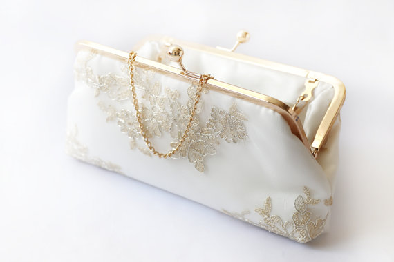 Mariage - Metallic silver and gold Alencon Lace Bridal Clutch in Ivory 8-inches