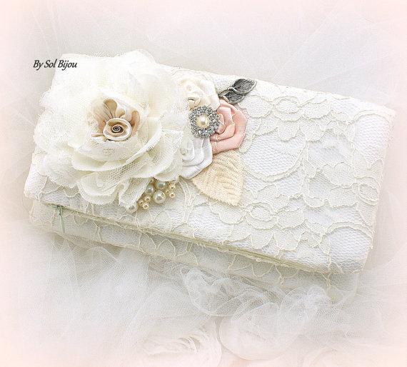 Mariage - Clutch, Handbag, Purse, Bridal, Wedding, Maid of Honor, Ivory, White, Blush, Lace, Pearls, Crystals, Elegant, Vintage Style
