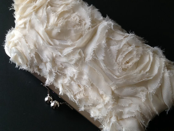 Mariage - SALE - Frayed Chiffon Rosette Ivory Clutch - was 59.00