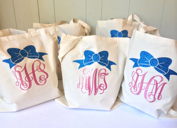 Mariage - Glitter Monogrammed Cotton Canvas Tote Bag, Monogrammed Gift, Personalized Reusable Eco-Friendly Grocery tote, Shopping bag